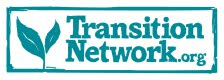 Transition network logo blue words plus 2 leaves