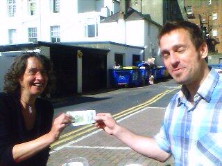 steph receives a lewes pound from martin