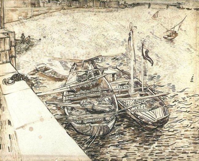 Men unloading sand barges