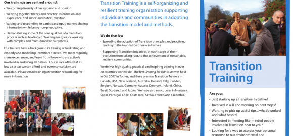 Transition Training Leaflet – Front