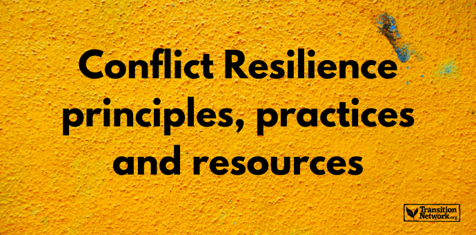 Feature image showing a yellow, textured wall, the words 'Conflict Resilience principles, practices and resources' and the Transition Network logo