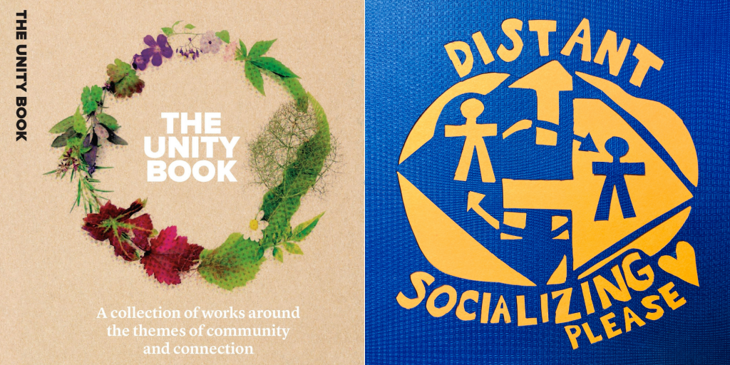 The Unity Book front page and artwork that depicts 'distant socializing'