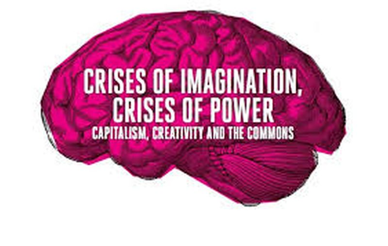 """Image of a pink brain with the words """"Crises of Imagination, Crises of Power - Capitalism, Creativity and the Commons'"""